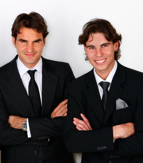 Photography by Jesus Cordero. Julio Iglesias with Rafael Nadal and Roger Federer